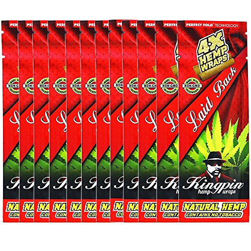 Kingpin Laid Back Hemp Wraps - 12 Packs (48 Total Wraps)
