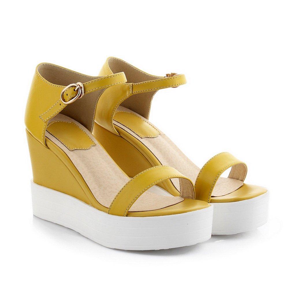 WeenFashion Women's Open Toe Buckle Sheepskin Solid High Heels Parent Sandals B01EV28VZI Parent Heels 4490b6