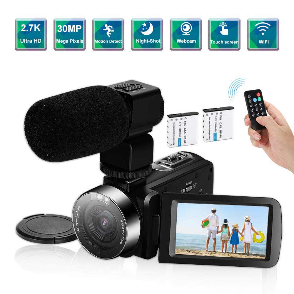 Video Camera Camcorder,Ultra HD 2.7K Vlogging Camera 60FPS 30MP 16X Digital Zoom 3.0 Inch Rotatable WiFi Camcorders with Microphone IR Night Vision&Time-Lapse