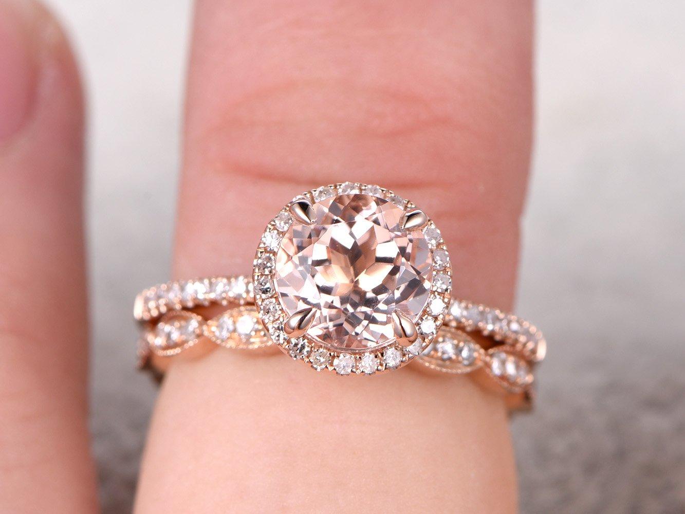 Amazon.com: 2 Solid 14k Rose Gold Wedding Rings Set,7x7mm Natural ...