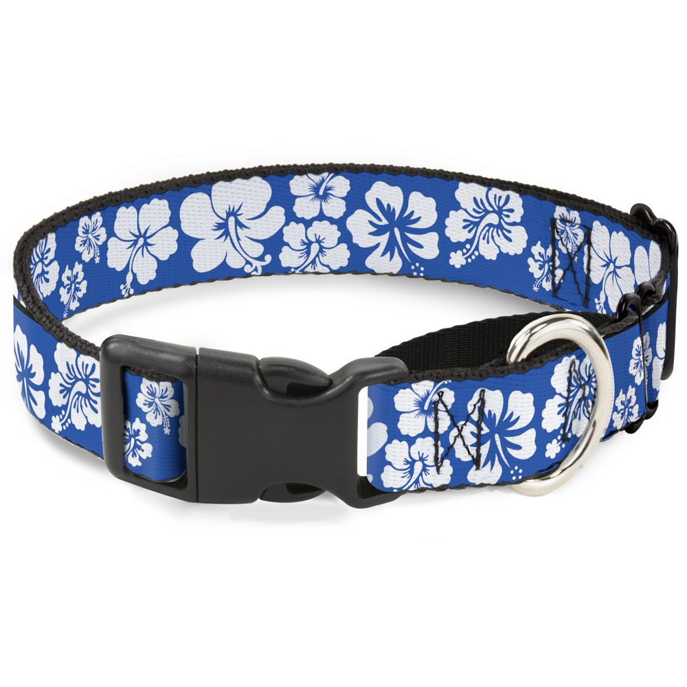 Buckle-Down MGC-W30890-M Hibiscus bluee White Martingale Dog Collar, Medium
