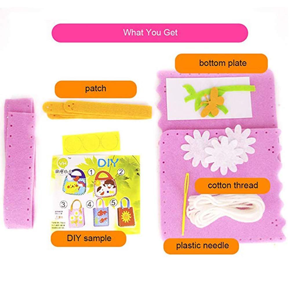 Dsaren 4 Paquets Kits de Couture Loisirs Cr/éatifs Enfant Debutant Kit dartisanat Sac /à Main Bricolage 4 Mod/èles