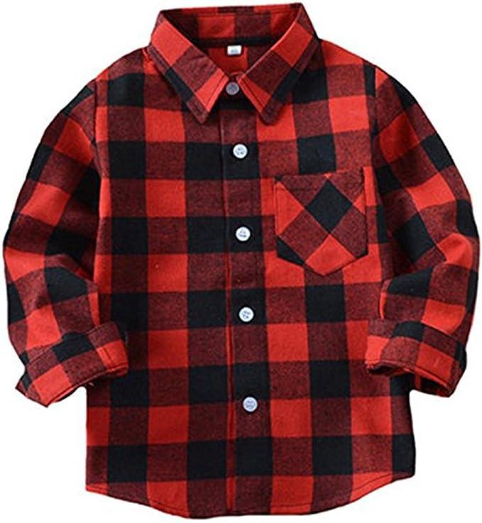 Happy GoGo Kid Girl Boy Long Sleeve Button Down Plaid Flannel Shirt
