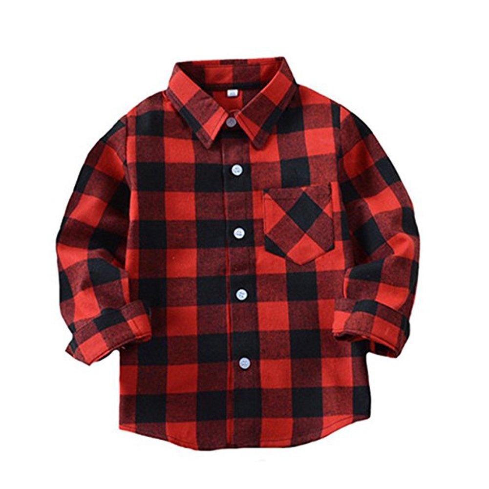 Happy GoGo Kid Girl Boy Long Sleeve Button Down Plaid Flannel Shirt (Red-Black, 4T)