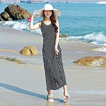 XIU*RONG Playa De Vacaciones Tejer Vestidos Con Rayas Y Faldas Largas Playas S Black