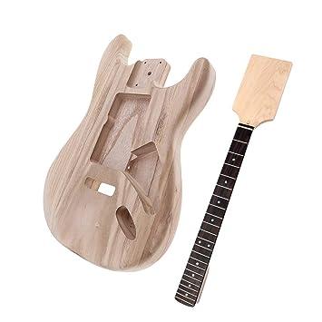 B Baosity Nuevo Madera Inacabada Guitarra Eléctrica Cuerpo + Cuello para Fender ST Guitarra Piezas: Amazon.es: Instrumentos musicales