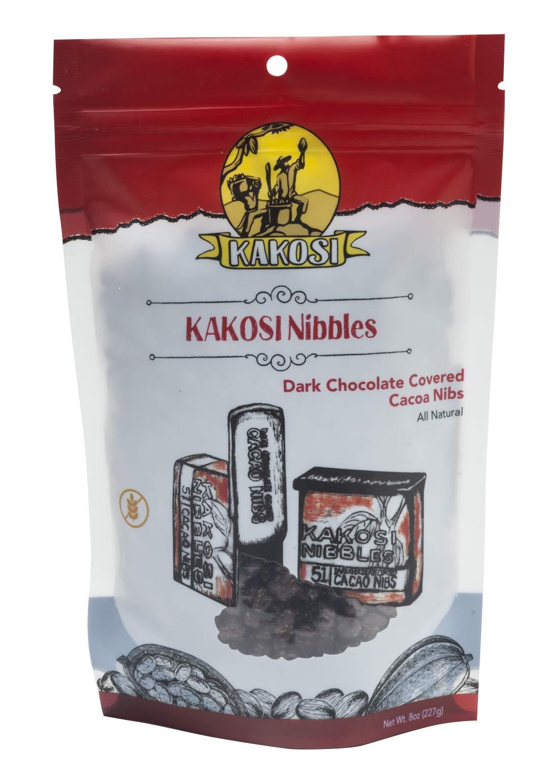 KAKOSI - Dark Chocolate-Covered Cacao Nibs - 8oz Bag