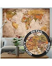 GREAT ART Affiche Vue Usage - Décoration Murale Carte géographie Mondiale Atlas Continental Map d Une Ecole Ancienne Mur Deco Poster Mural Image by (140 x 100 cm)
