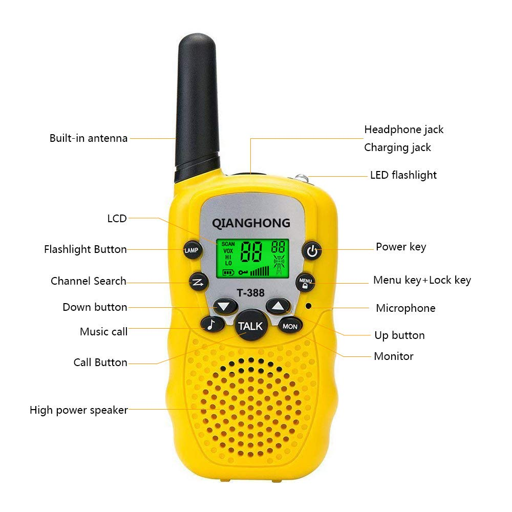 Qianghong T3 Kids Walkie Talkies 3-12 Year Old Children's Outdoor Toys Mini Two Way Radios UHF 462-467 MHz Frequency 22 Channels -1 Pair Yellow by Qianghong (Image #3)