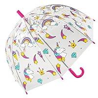 Susino Children's/Junior Clear Dome Umbrella - Colourful Unicorns