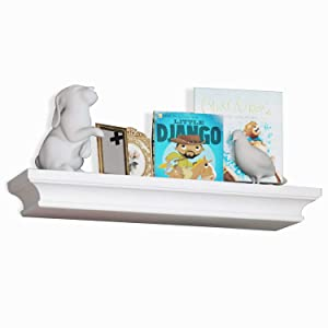 brightmaison Crown Molding Kids Room Floating Shelf Picture Ledge Nursery Décor Bookshelf for Frames Book Display with Concealed Metal Bracket for Stable Wall Mount (White)
