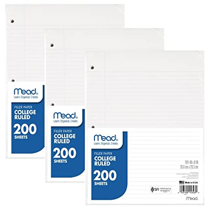 amazon フィラー紙by mead wide ruled college ruled 3 pack 文房具