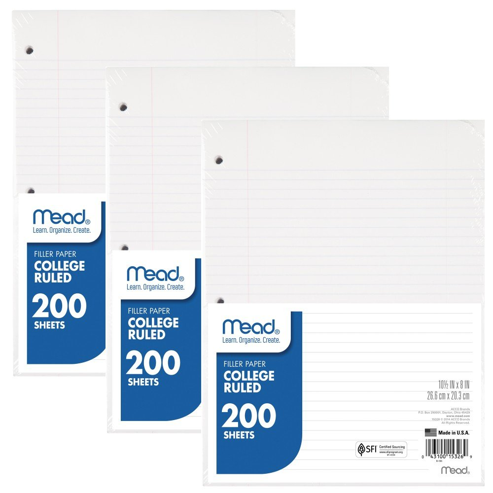 Mead Loose Leaf Paper, Filler Paper, College Ruled, 200 Sheets, 10-1/2'' x 8'', 3 Hole Punched, 3 Pack (73185)