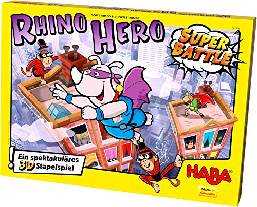 HABA Rhino Hero Super Battle - A Turbulent 3D Stacking Game Fun for All Ages -