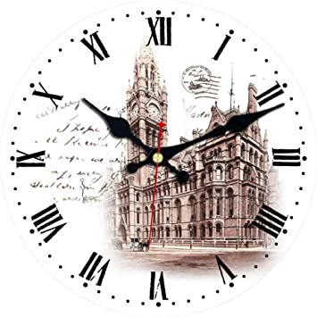Mzdpp Big Ben Design Relojes Redondos Silent Home Cafe Oficina Bar Relojes Decorativos Art Wall Vintage Gran Reloj De Pared A-23 Inch: Amazon.es: Hogar