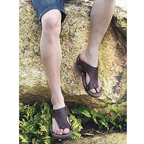 Pinuo 2016 Nuova Versione Coreana Di Sandali Da Uomo Casual Nuovi Sandali Esterni In Pelle Traspirante Marrone Scuro