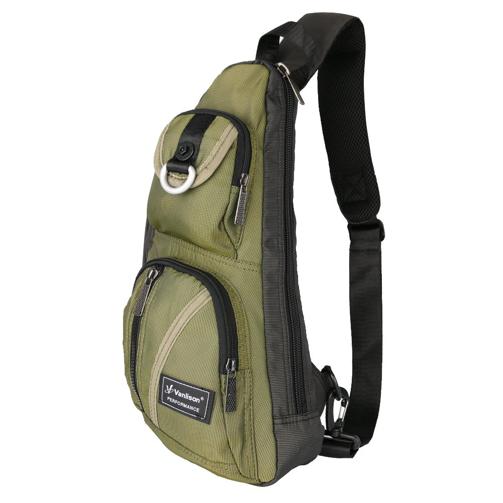 Sling Bag, Chest Bag, Vanlison Sling Backpack Shoulder Bag For Men Women Green