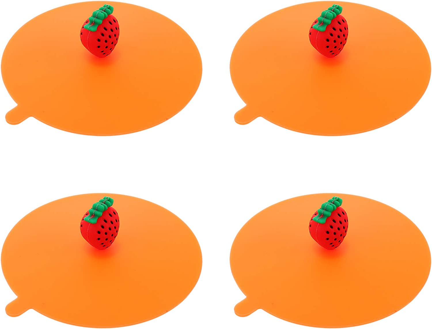 DOITOOL 4pcs Silicone Cup Lids with Strawberry Handle Cute Fruit Anti- Dust Airtight Mug Covers Drink Cup Cover for Hot and Cold Drink 11cm
