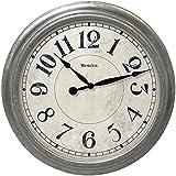 "Westclox 32931 Round Galvanized Finish Wall Clock, 15.5"", Gray"