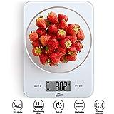 Uten Cucina 8 kg/8 Kilogram Cibo Digitale Bilancia con Piattaforma in Vetro temperato Touch Button e Batteria Incluso (Bianco), 23 CM17 CM