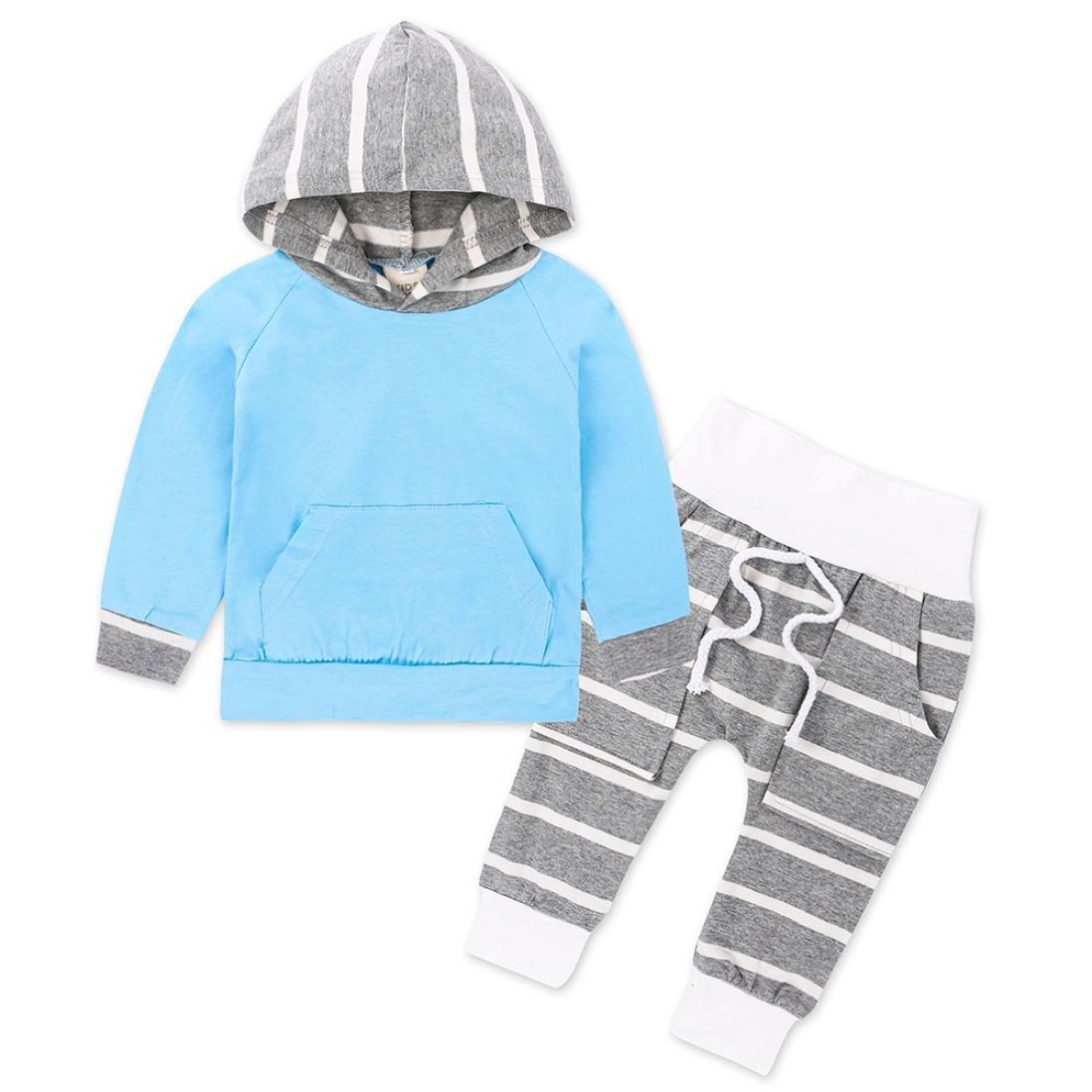QinMM Baby Kleidung Satz, Kleinkind Säuglingsbaby Kleidung stellte Gestreifte Hoodie Tops + Pants Outfits Set 2pcs 0-18 Monat 11222