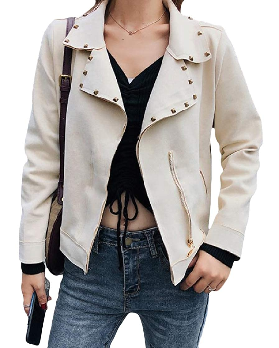 YUNY Womens Lapel Baggy Skinny Pure Color Rivet Pocket Zipper Outwear Jacket Apricot OS