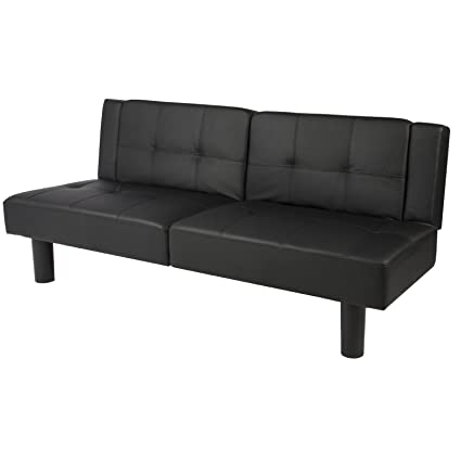 Amazon.com: LTL Black Leather Convertible Faux Fold Down Futon Sofa ...