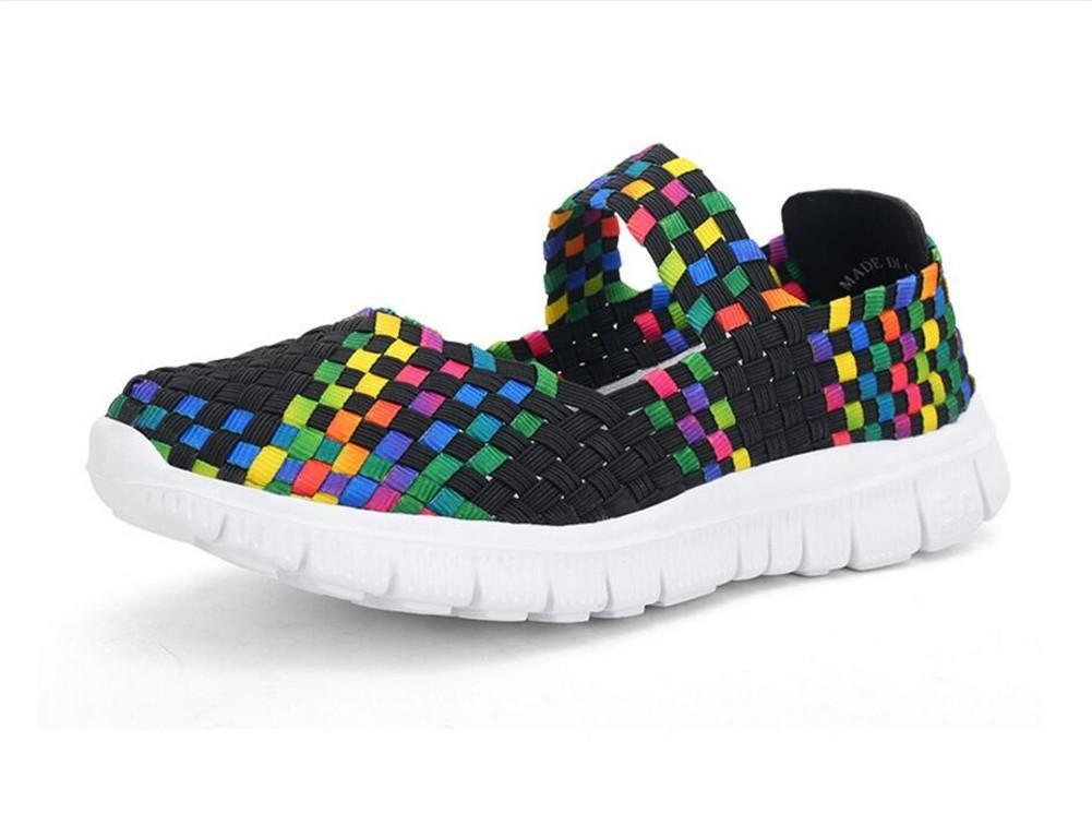 XIE Mujeres Tejidas a Mano Slip-On Zapatos Señoras Baja para Ayudar a la Primavera y Verano Solo Zapatos, Colorful Black, 38 38|colorful black
