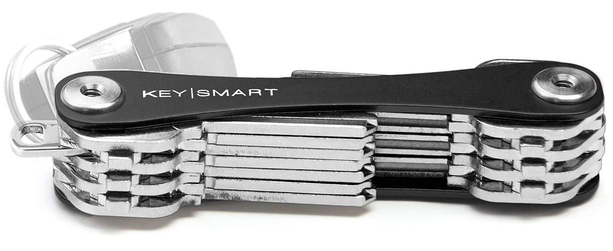 KeySmart Extended | Compacto llavero y organizador (2-22 llaves, negro)