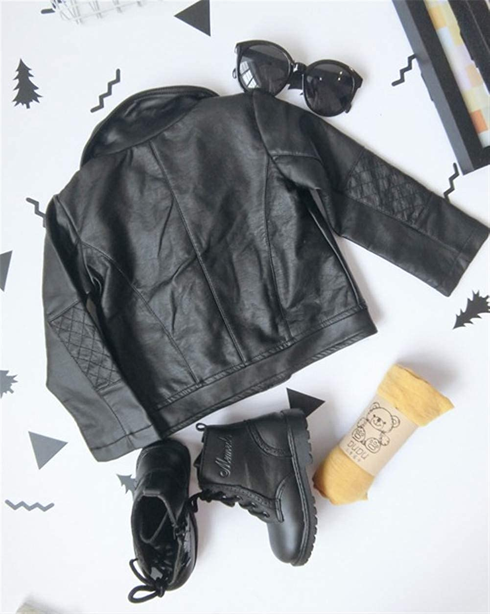 LOOLY Kids PU Leather Zip Up Jacket Fashion Baby Boys Girls Short Leather Jacket