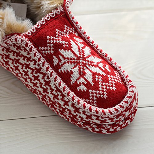 Cotton Christmas Slippers Warm Slippers S Snowflake Zoylink Women Slippers for Winter Printed BU04xqC