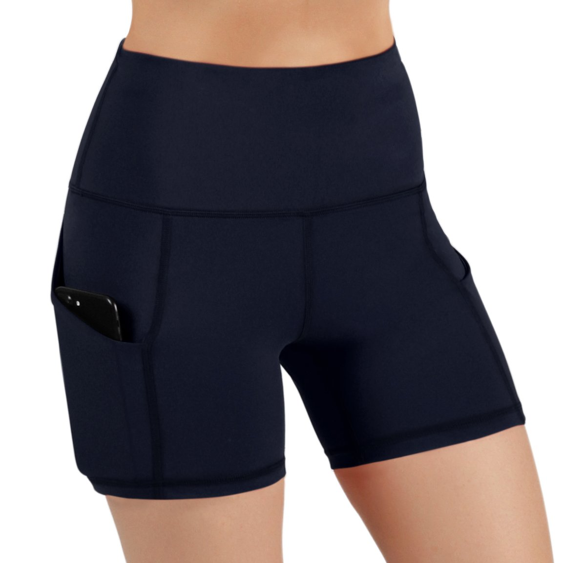 ODODOS High Waist Out Pocket Yoga Short Tummy Control Workout Running Athletic Non See-Through Yoga Shorts,Navy,X-Small