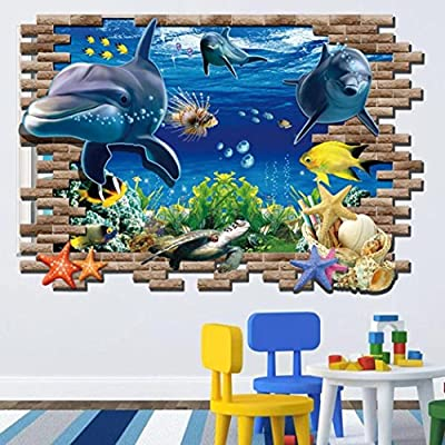 Iuhan® Fashion New Sea Whale Fish 3D Wall Stickers For Kids Room Removable Decoration DIY PVC Sticker Wallpaper Decals