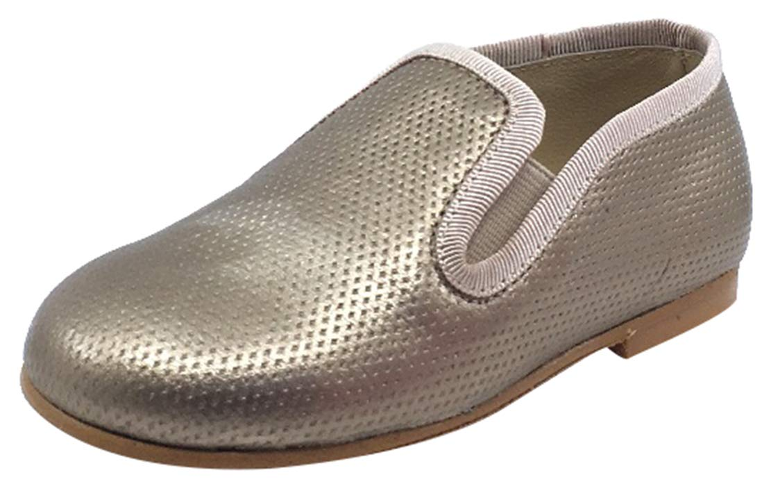 Luccini Kid's Slip-On Smoking Loafer (Perforated Bronze Leather, 23 M EU/6 M US Toddler)
