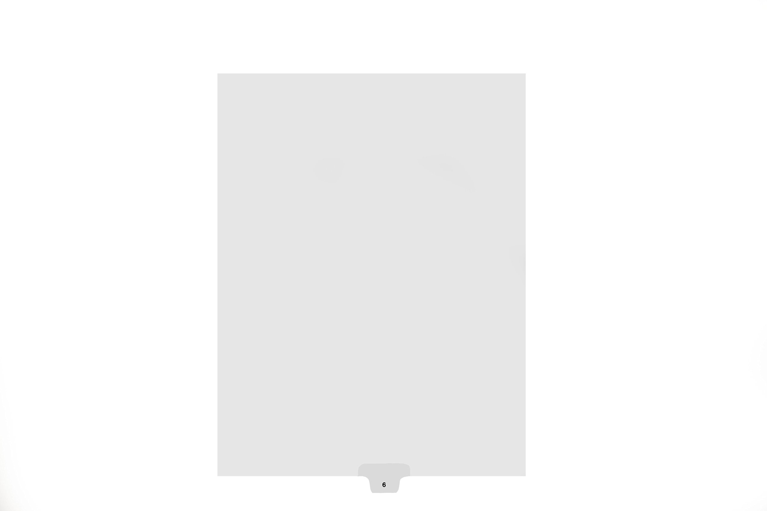 Kleer-Fax Letter-Size Individual Number Index Dividers, Bottom Tab, 1/10th Cut, 25 Sheets/Pack, White, Number 6 (84319)