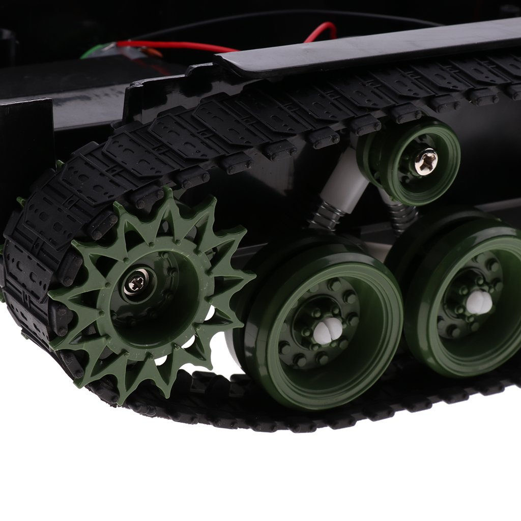 Baoblaze Shock Absorbed RC Tank Car Chassis Kit Track Crawler w//Motor for Arduino DIY Robot Mechanism Scientific Educational Toy