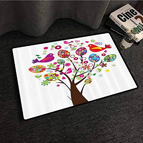(Flying Birds Decor Collection Washable Doormat Ornate Easter Tree with Floral Eggs Love Birds Butterflies Joy Modern Artprint Home Quick and Easy to Clean W35 xL59 Multi )