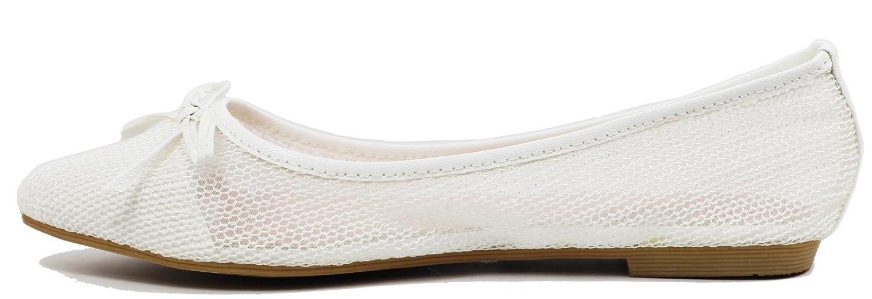 Walstar wedding shoes for bride Flat Shoes Mesh Flat Shoes B073WJKNLJ 9 B(M) US|White