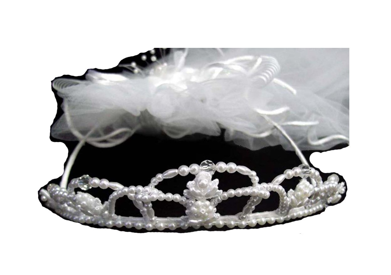 Handmade White Communion Veils With Faux Pearls (V241 Z)