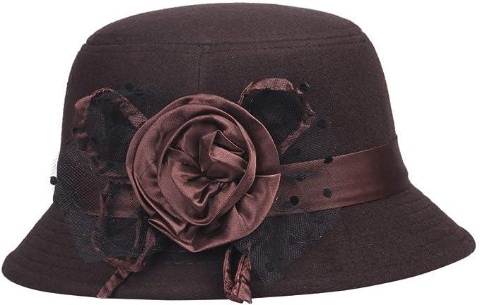 M/ützen Glockenhut Damen Herbst Winter Vintage Mode Perfect Modern Style Bowler Mit Blumen Filzhut Caps Style