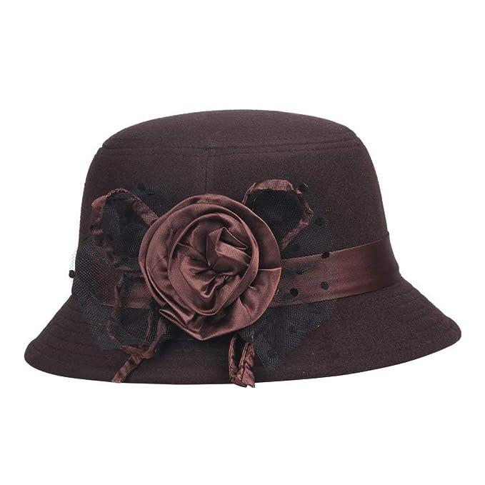 a0af9cc110d06 Sombreros Sombrero De Campana para Damas Elegante De Melón Sombrero  Especial Estilo De Fieltro Sombrero De