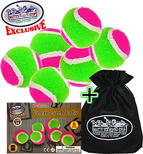 Mattys Toy Stop Toss & Catch (Hook & Loop) Refill Balls with Storage Bag - 6 Pack