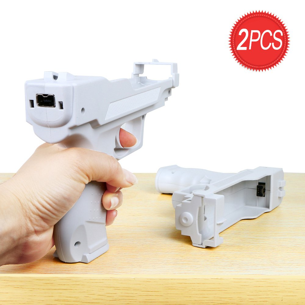 Wii Motion Plus Gun for Nintendo Wii Controller + Wii Shooting Games (White,Set of 2)