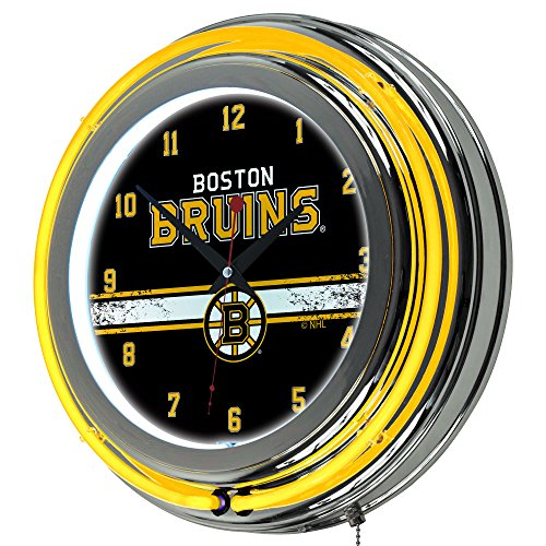 Trademark Gameroom NHL Boston Bruins Chrome Double Rung Neon Clock ()