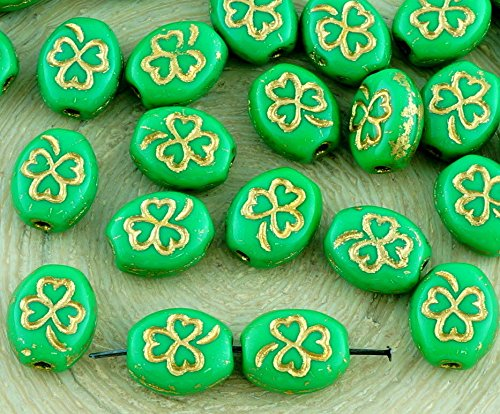18pcs Opaque Chrysolite Green Gold Patina Flat Oval Shamrock Clover Trefoil Patrick Leaf Religious Rosary Lucky Czech Glass Beads 10mm x 8mm Gold Leaf Patina