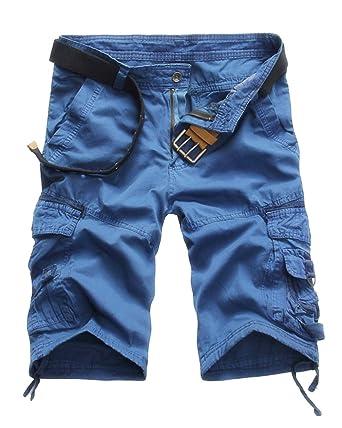 7416bad2a30dc Quge Hombres Bermudas Cargo Shorts Multi Bolsillos Camuflaje Militar Casual  Pantalones Cortos  Amazon.es  Ropa y accesorios