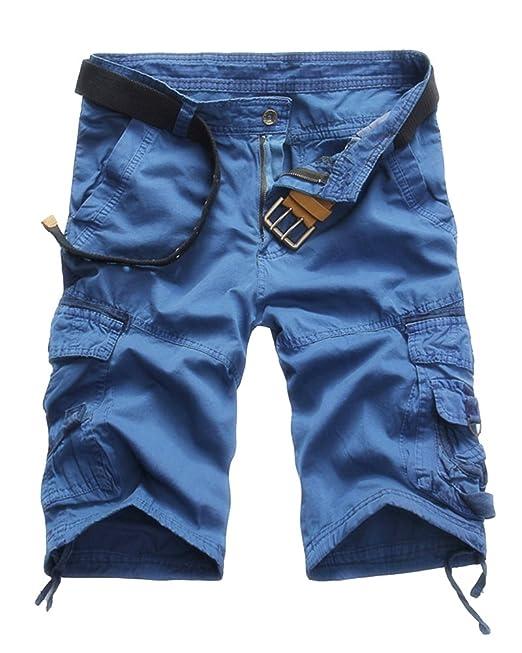Quge Hombres Bermudas Cargo Shorts Multi Bolsillos Camuflaje Militar Casual Pantalones  Cortos  Amazon.es  Ropa y accesorios 4151d46b321