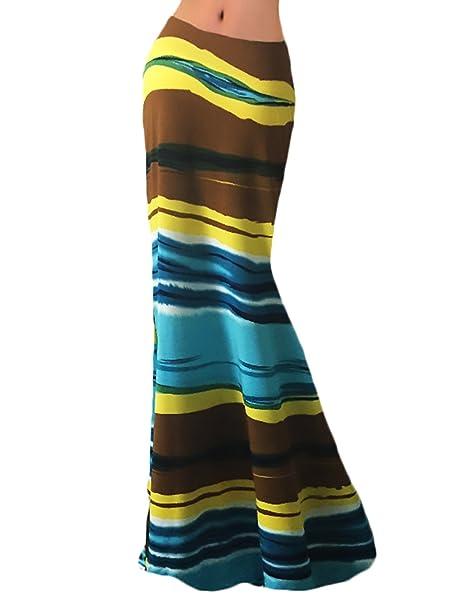 Falda Mujer Larga Cintura Alta Slim Fit Vintage Hippie Irregular Etnico  Patrón Elegantes Moda Hipster Casual Maxi Falda De Playa Larga Faldas  Largas  ... c4d5592b6ada