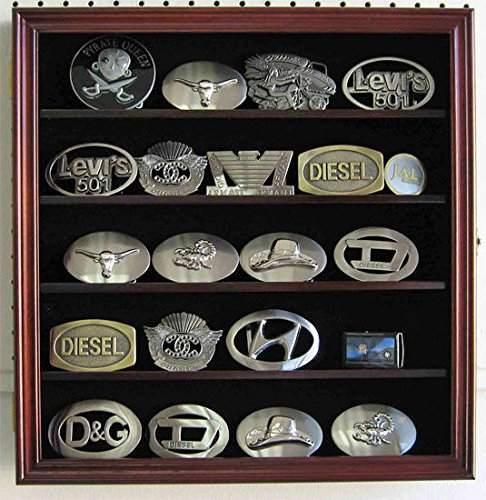 Belt Buckle Baseball Buckles (Mahogany Belt Buckle Display Case Wall Shadow Box Cabinet Glass Door)