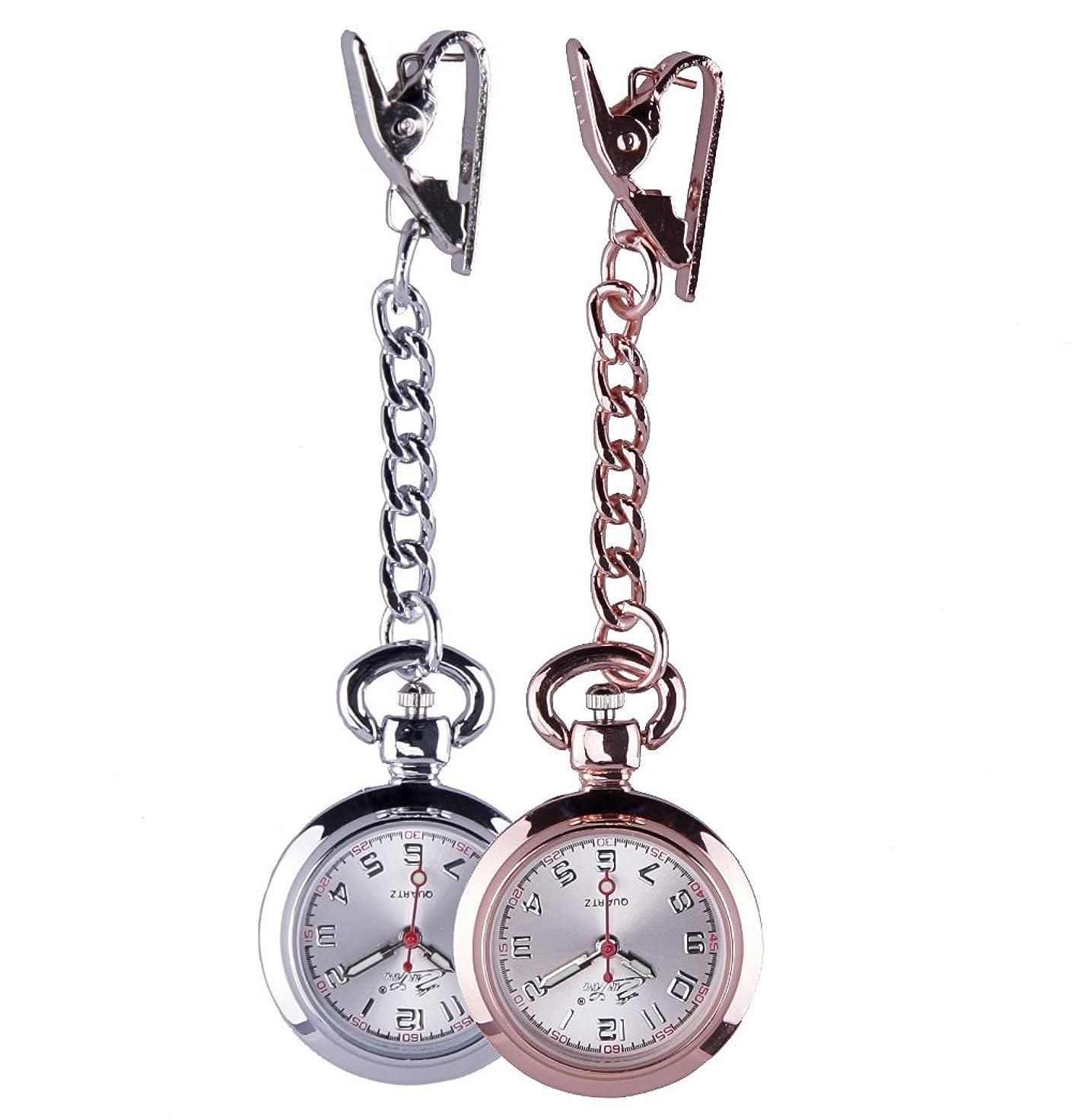 またはどちらか柔和ファンドナースウォッチ  かわいい時計 懐中時計 逆さ文字盤 桜  クリップ式 ピンク